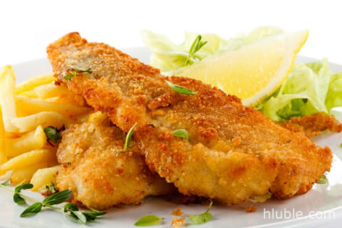 Pink salmon in batter
